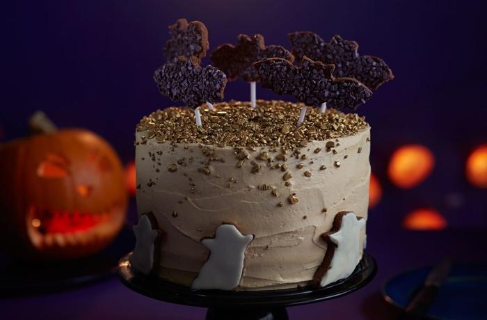 jack o laterne idée déco table halloween gateau anniversaire halloween glaçage sprinkles chocolat noix fantômes cookies