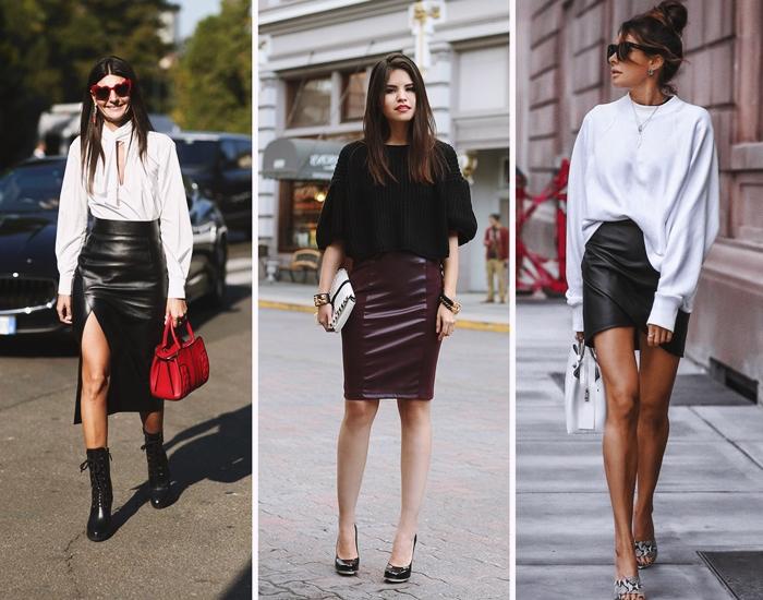 jupe en cuir longue fendue tenue avec jupe et pull automne mode femme vetements tendance