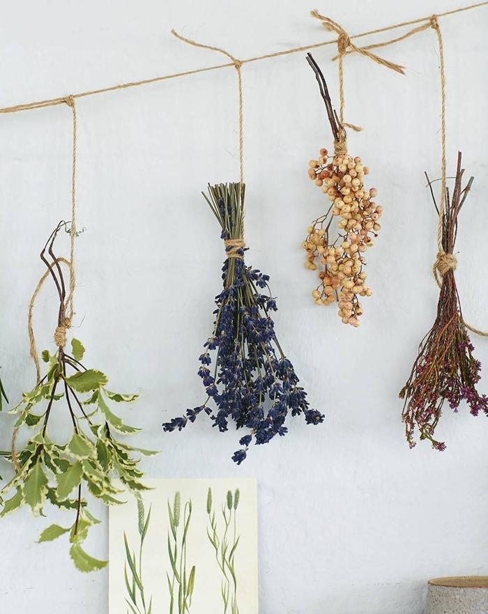 méthode de séchage fleurs et herbes facile à la maison bouquet de fleurs séchées à l air libre ficelle corde herbes