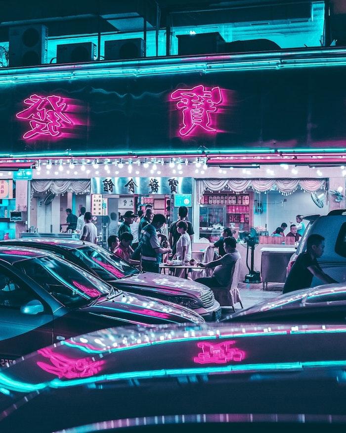 meilleur fond d ecran esthetique synthwave un bar japponnaise avec des lumieres neon