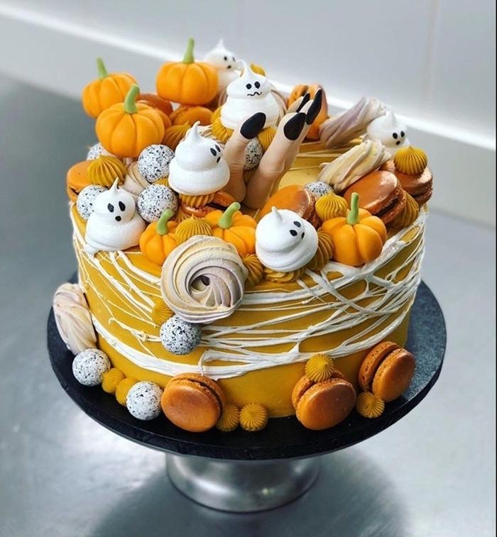 mini citrouille sucre pâte fondant colorant alimentaire gateau halloween citrouille meringue glaçage citron gâteau