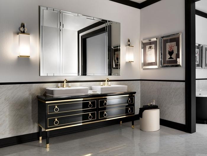 miroir rectangulaire applique murale meuble lavabo noir finition laiton évier blanc robinet or deco salle de bain moderne