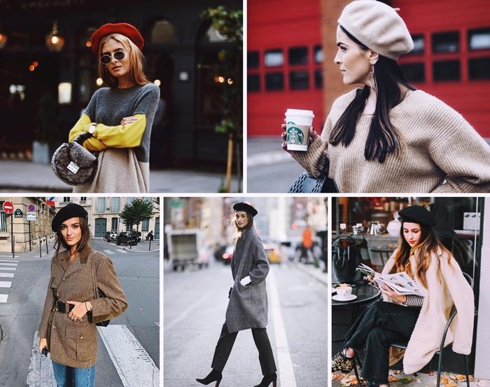 mode parisienne femme tenue chic beret rouge pull pantalon lunettes de soleil tenue automne manteau talons