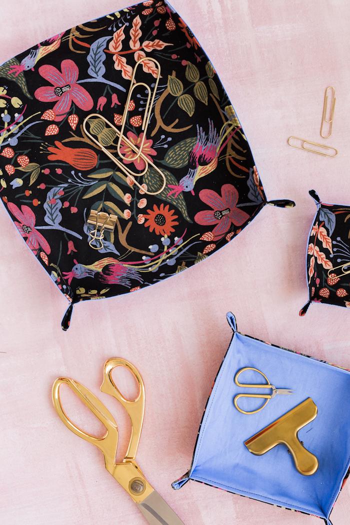 panier diy en tissu idée couture débutant simple avec tissu simple et thermocollant