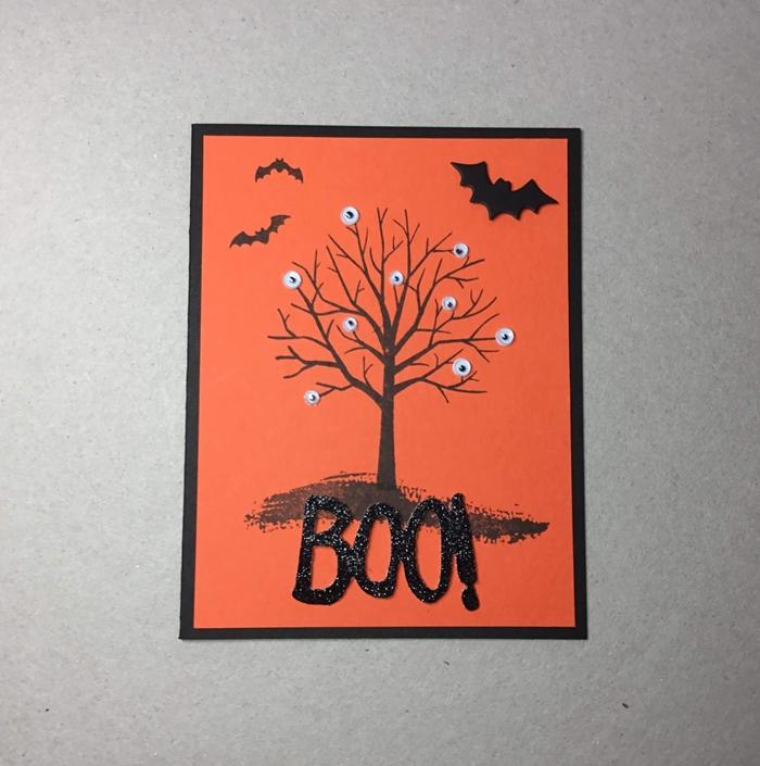 papier cartonné orange chauve souris desin arbre nu paysage nocturne automne activités manuelles halloween enfant