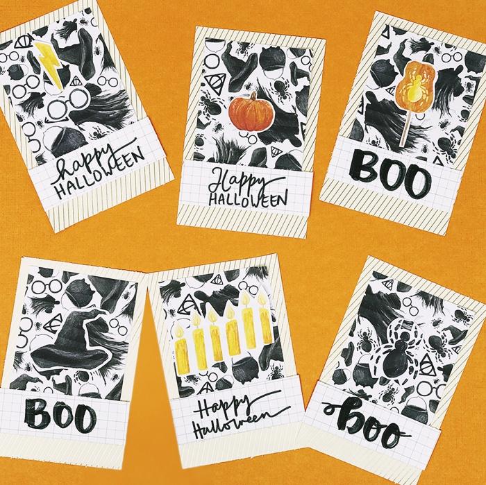 papier cartonne motifs citrouille orange diy carte joyeux halloween bricolage automne modeles carte fait maison sourciere