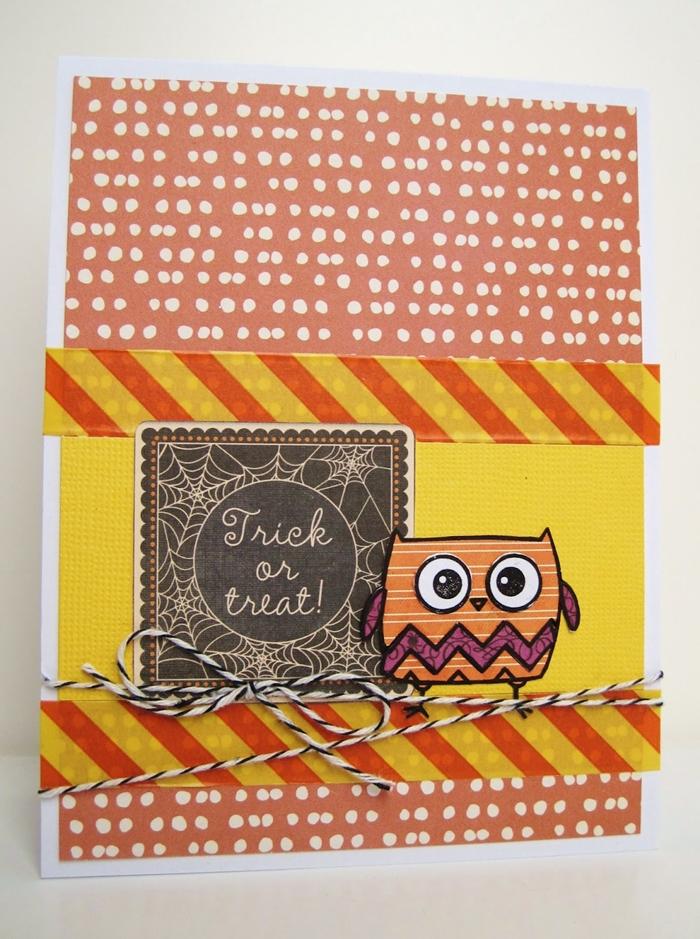 papier scrapbooking art creation halloween découpage technique hibou dessin en couleur bordure en washi tape