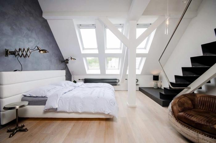 peinture à effet béton chambre parentale moderne tête de lit cuir blanc fenêtre plafond escalier moderne fauteuil cuir