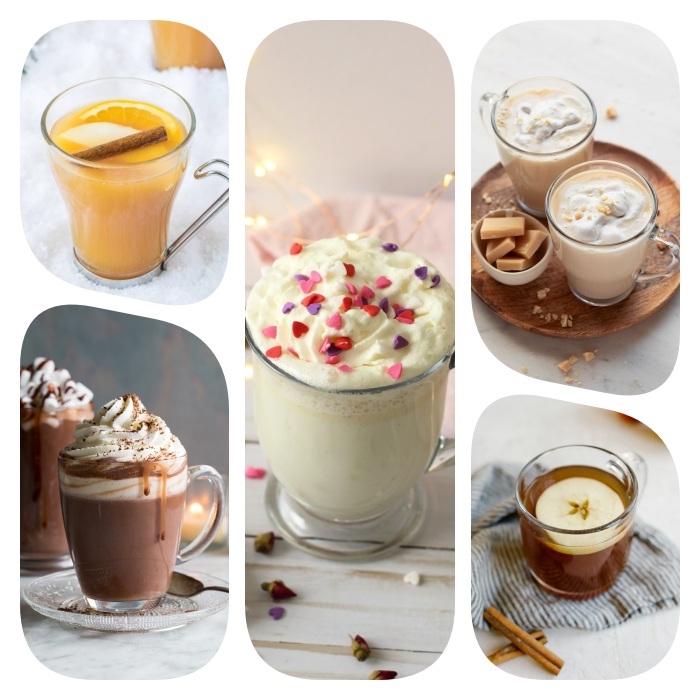 plusieurs idées de boissons chaudes fusions de thé cidres chauds chocolat chaud blanc et cacao chaud