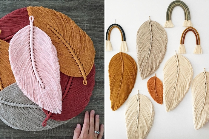 porte clé macramé diy activité manuelle feuille automne fil jaune moutarde tressage plume simple noeud décoration diy