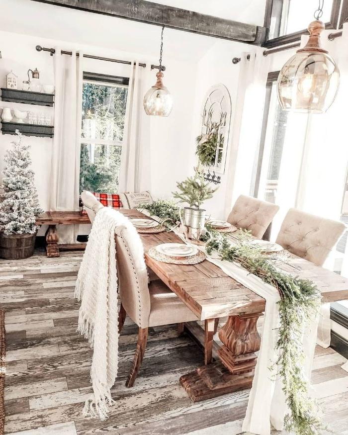 poutre bois parquet bois clair table basse bois brut plaid blanc cocooning centre de table deconature sapins artificiels effet enneigé