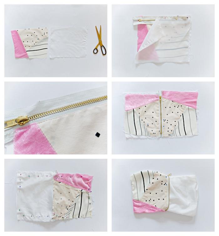 que faire avec des chutes de tissu idée tuto couture sac pochette avec doublure et des chutes pans tissu