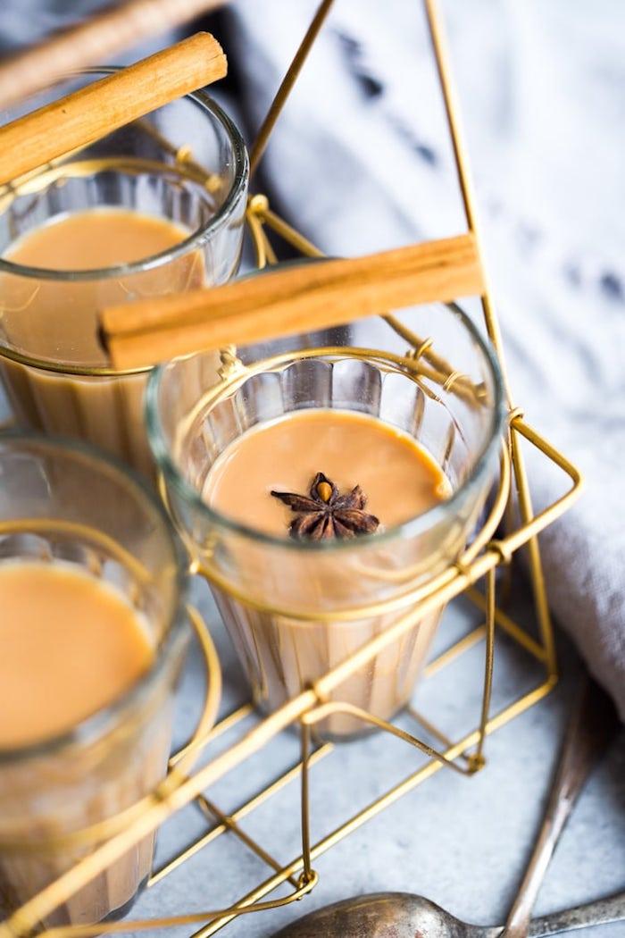 recette de thé masala au thé noire lait végétale et des épices de noel et cannelle