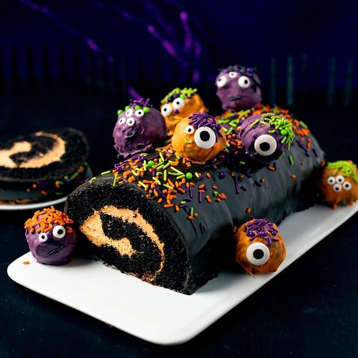 recette halloween facile sucre chocolat noir gateau chocolat halloween bonbons colorant alimentaire glaçage violet