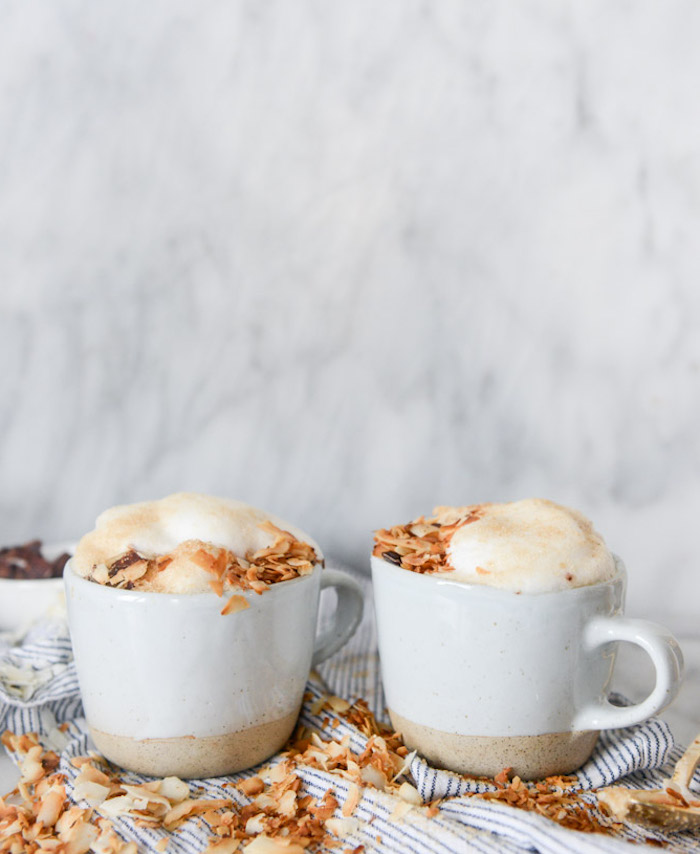 recette latte classique au coco et siro d etable avec de la mousse café latte maison