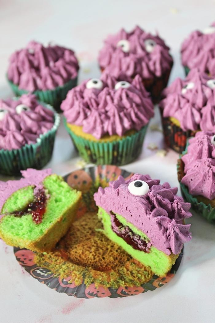 recette muffin maison facile colorant alimentaire vert gateau monstre crème violet lavande yeux sucre confiture