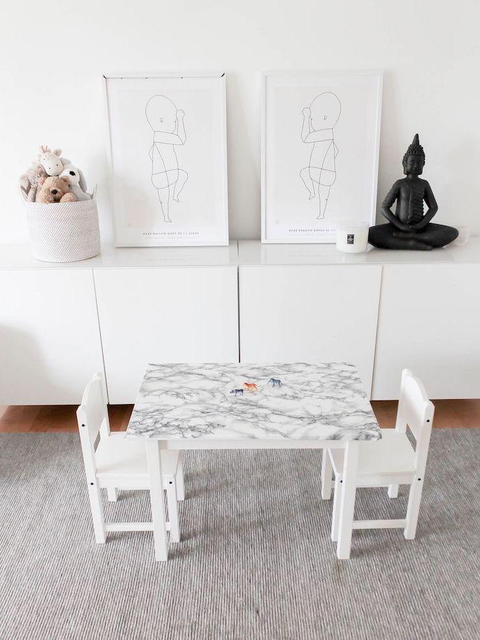 recouvert le haut d un table cuisiniere meuble scandinave ikea salle a manger en blanc avec de tableaux style zen