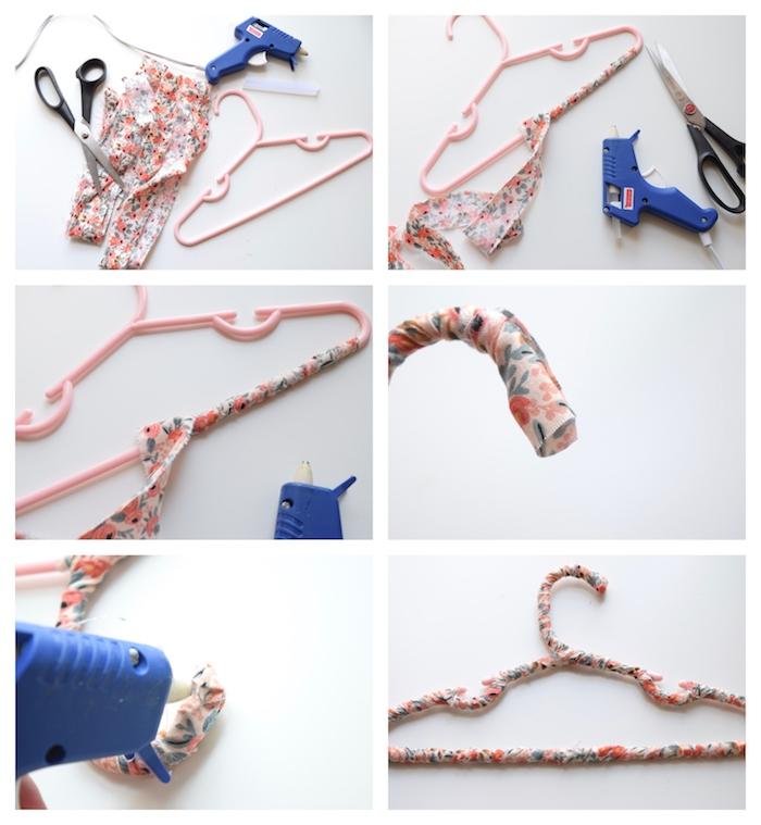 recyclage tissu customiser des cintres de tissu à imprimé fleuri exemple bricolage facile et rapide