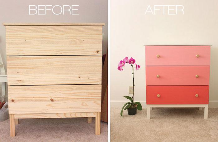 relooking meuble avant apres commode ikea repeint a neuf avec de la peinture rose et rouge