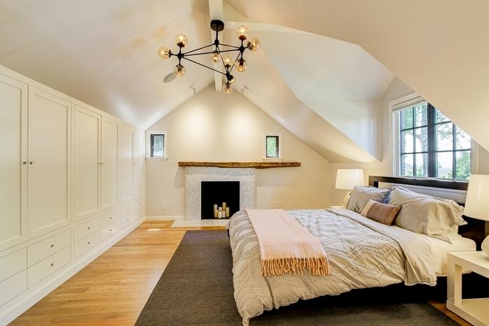 revêtement sol parquet bois chambre avec dressing plaid franges cheminée décorative lampe chevet tapis gris