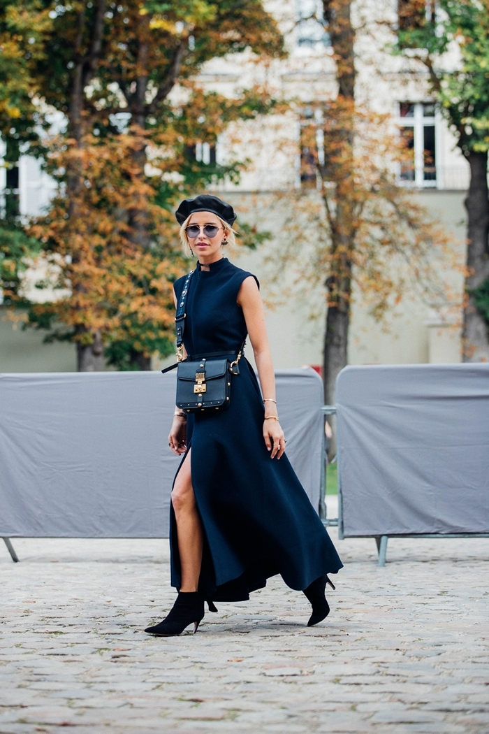 robe longue fendue noire ceinture tenue classe femme look total noir automne mode femme béret cuir noir bottines talons