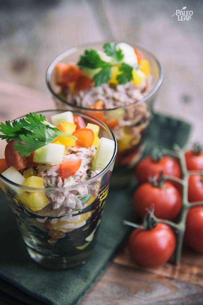 salade de thon verrine aux légumes de saison et thon à la mayonnaise