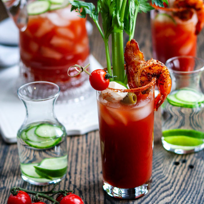shot de bloody merry sauce tomate mozzarella crevette mini verrine apero facile et rapide