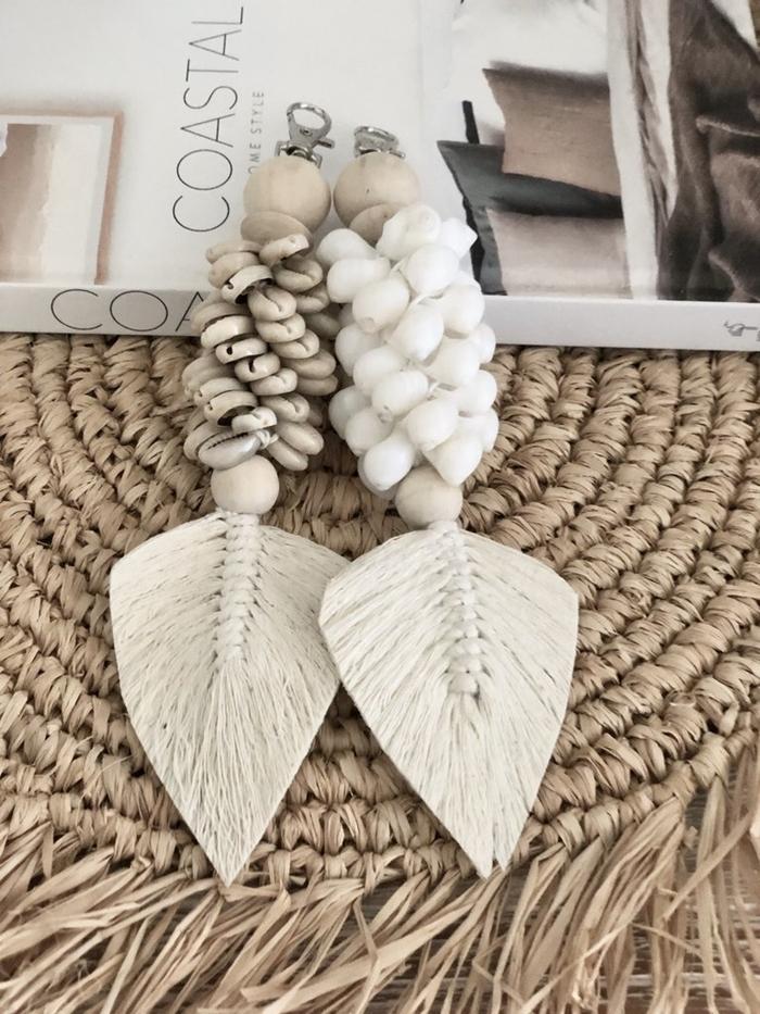 sous verre tressé accessoires mode diy macramé facile idée comment faire porte clé sous forme de plume coquillage