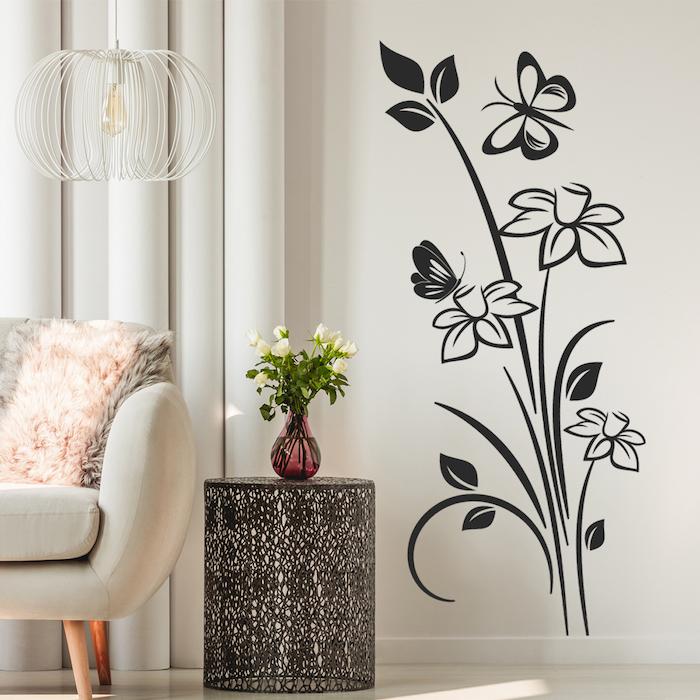 stickers muraux pour la salle de sejour un canape rose et murs beiges