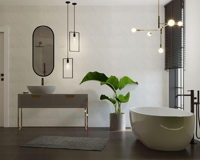 style contemporain design intérieur inspiration rétro chic deco salle de bain moderne miroir noir mat luminaire métal