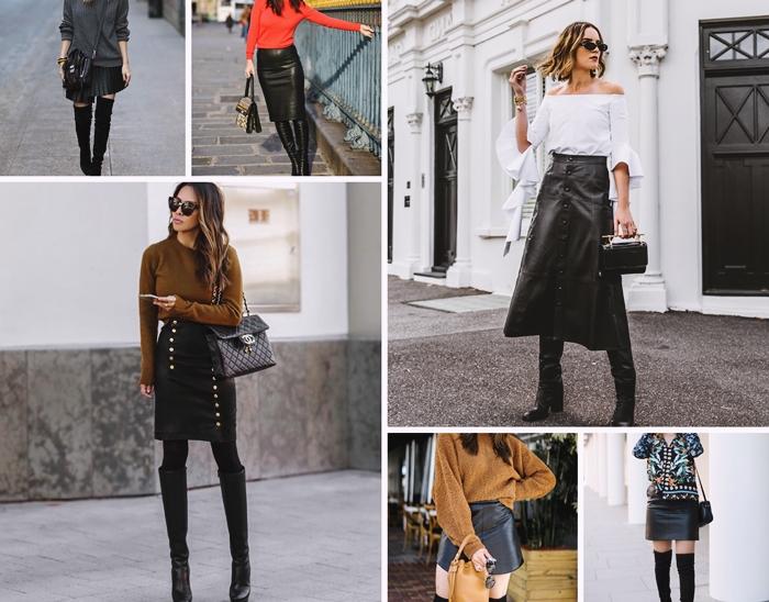 style vestimentaire tenue automne femme bien habillee jupe en cuir longue avec bottes cuissardes velours cuir noir