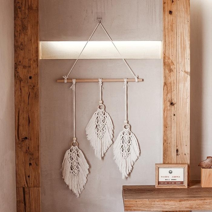 technique tressage macramé mural tuto débutant bâtonnet bois corde macramé feuille noeud macramé perles bois