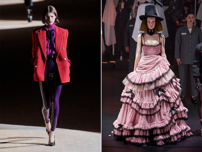 tendances automne hiver 2020 2021 deux tenues une robe rose style versaille et un tenue avec collant violet et veste rouge