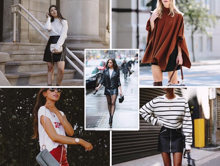 tenue chic automne vetements jupe en cuir couleurs blouse top manteau blouse rayure blanc et noir