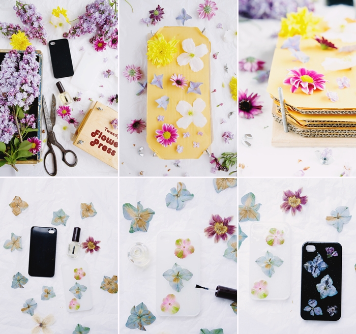 tutoriel comment faire accessoire mode facile portable creation avec fleurs sechees vernis ongles diy étui smartphone
