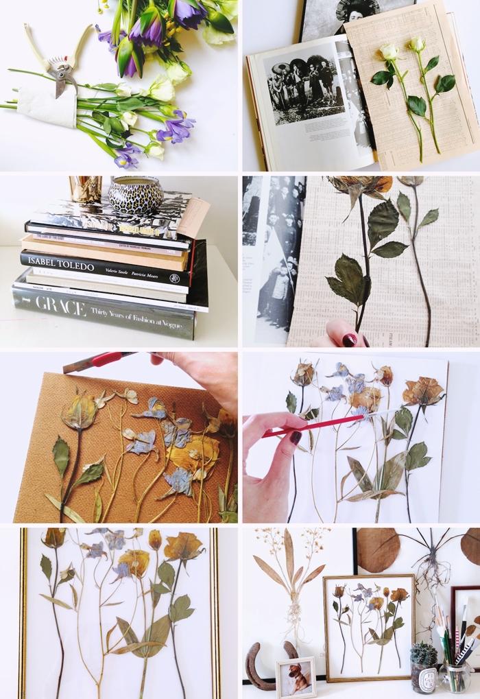tutoriel comment faire un herbier presse fleurs sechage methode technique decoration cadre avec fleurs pressees