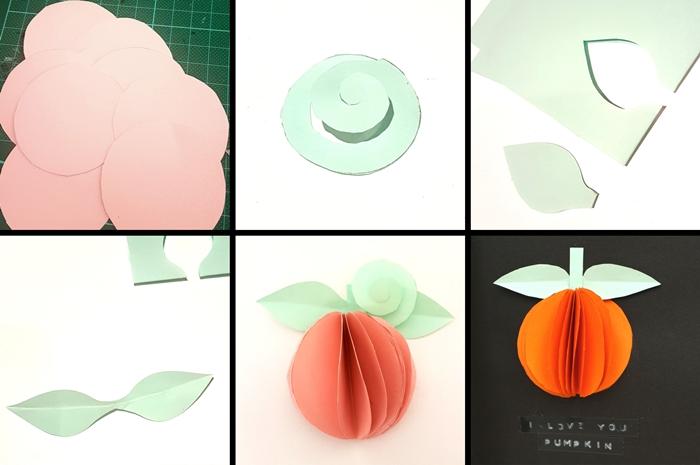 tutoriel fabrication carte joyeux halloween forme citrouille 3d papier cercles orange feuille papier vert menthe stickers joyeux halloween papier noir