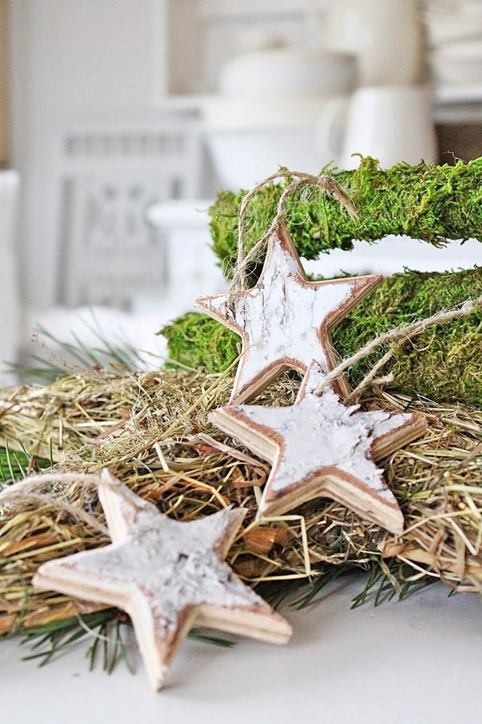 étoiles bois blanchi ornements de sapin diy deco de noel a faire soi meme mousse branches séchées