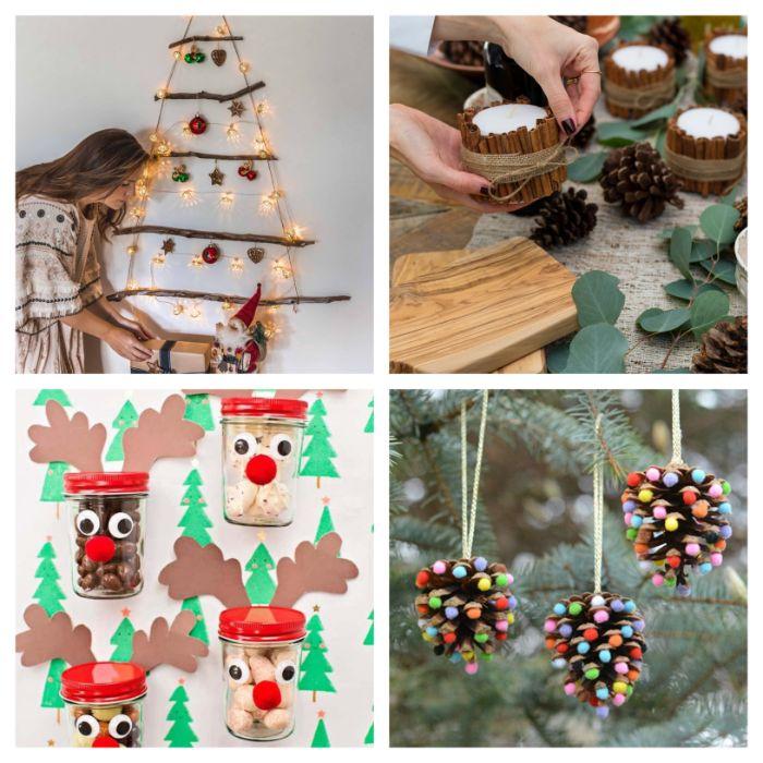 activité à faire à la maison idée de décorations de noel à faire soi meme en branches pommes de pin batons de cannelle bougies
