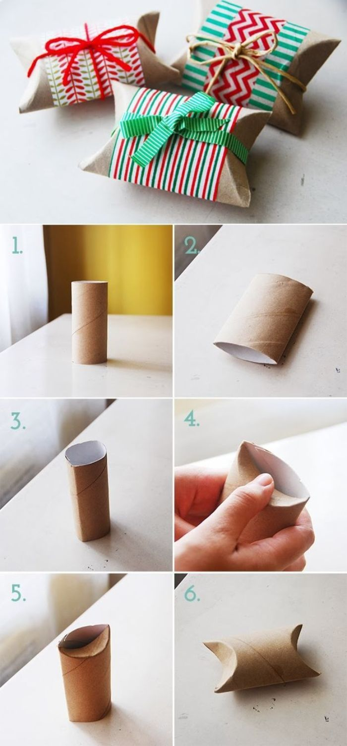 activité avec rouleau papier toilette boites dans tubes papier toilette décorés de papier de noel et rubans