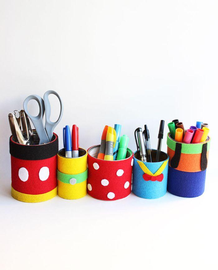 activite a faire a la maison boite de conserve customisée de papier mousse pot à crayon diy motif dinsey