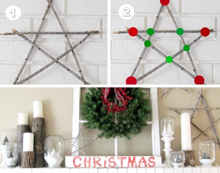 activite manuelle noel facile avec branches de bois diy etoiles batonnets corde decoration cheminee objets diy bougies