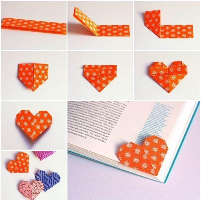 apprendre à faire origami coeur pour fabriquer un coin de page marque page diy originale