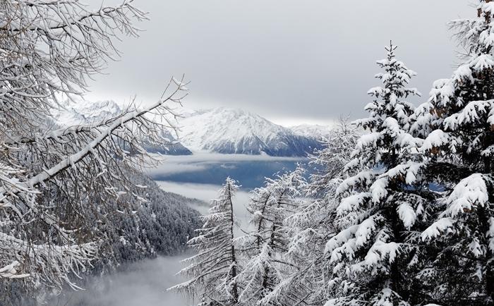 arbres enneigés de noel nature pure sauvage paysage montagne vue d en haut lac glacé sommet
