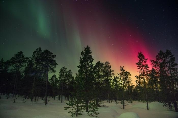 aurores ciel rose vert lumière nuit ciel nocturne étoiles paysage montagne nature polaire arctique