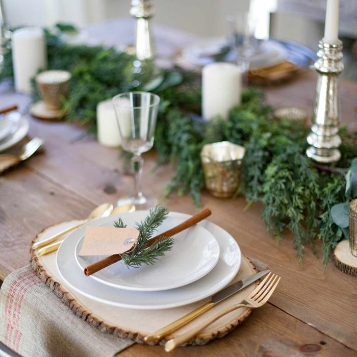 bougeoir métal deco noel diy matériaux nature déco table bois brut rondelles serviette beige couvercle laiton