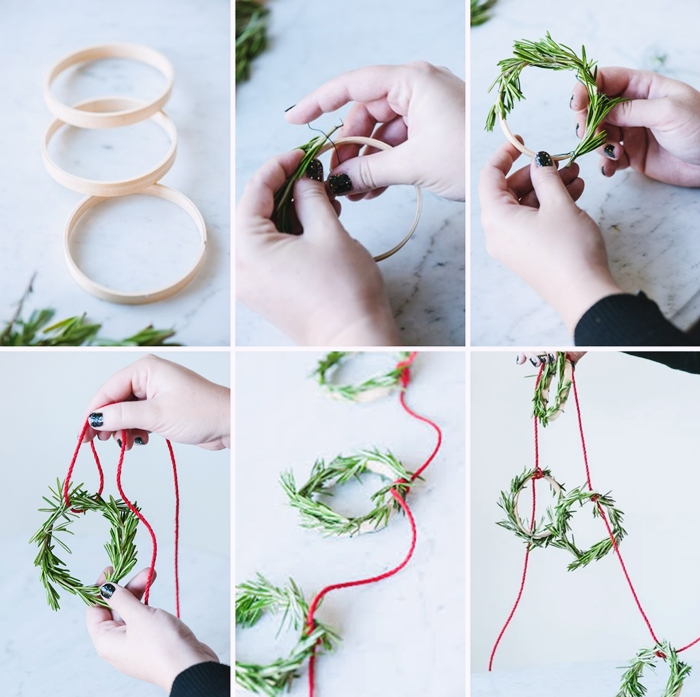 bricolage noel facile comment faire une mini couronne de noel avec cerceau broderie brin de romarin guirlande noel diy