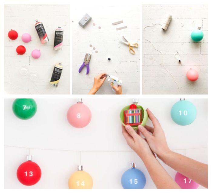 calendrier de l acent bricolage pour tout petit avec des boules de noel colorées avec des surprises jouets à l intérieur