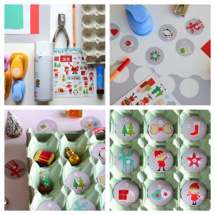 calendrier de l avent en cartonnage idée carton oeuf calendrier de l avent enfant avec jouets gorumandises et mini cercles de papier décorés de stickers adhesifs