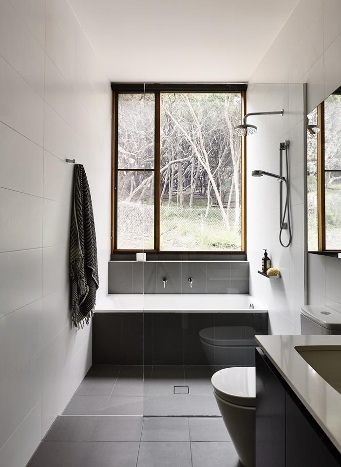 carrelage gris anthracite cuvette wc idée petite salle de bain décoration blanc et noir douche pluie séparation verre